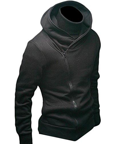 Fashion Full Zip Sweatshirt (WANSHIYISHE Men's Fashion Slim Fit Full Zip Hoodies Sweatshirt Coat Black US)