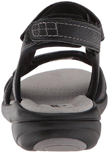 Leder mit Leder schwarzem Clarks Saylie schwarzes Jade getrommelt Womens Sandal x8fY6q