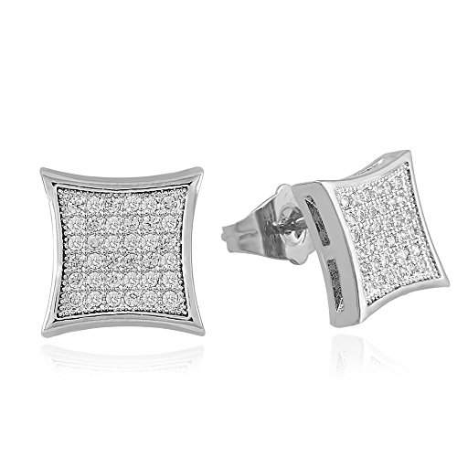 - LuReen Mens Earring Silver 11mm Square Iced Out CZ Stud Earring for Men Boys