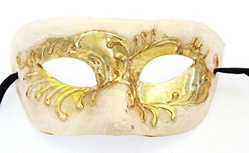 Eye Mask Ivory & Gold Mardi Gras Venetian Masquerade Halloween Costume Prom Wedding -