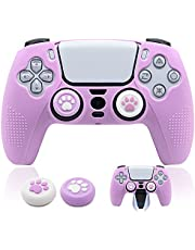 BRHE PS5 Controller Skin Dockable Kawaii Accessories Silicone Grip Cover Case Set for Playstation 5 Gamepad Joystick with 2 Cute Cat Claw Thumb Caps (Purple)