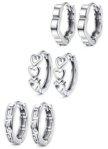 Hanpabum White Gold Plated Huggies Earrings Small Hoop Earrings Set Hollow Heart Flower Geometry Cartilage Earrings for (Gold Small Heart Earrings)