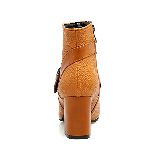 Yellow DKU01968 Cushioning Lining Urethane Womens Kitten Toe Smooth Manmade Zipper Boots Warm A Boots Waterproof Leather Road AN amp;N Heel Closed qWvwRaEHT