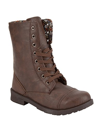 BLUE SUEDE SHOES Ditsy Lined Girls Combat Boots, Brown, (Suede Girls Shoes)