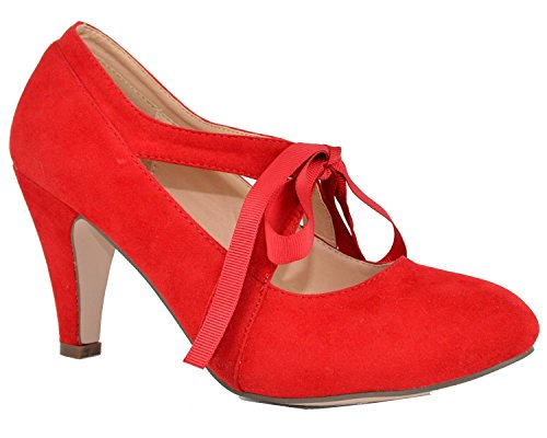 Chase & Chloe Womens Vintage Bow Mary Jane Pompa Tacco Alto Rosso