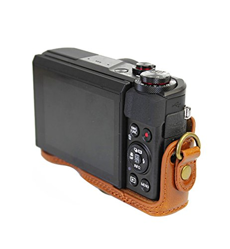 Ceari Vintage Leather Camera Case Bag With Strap For Canon