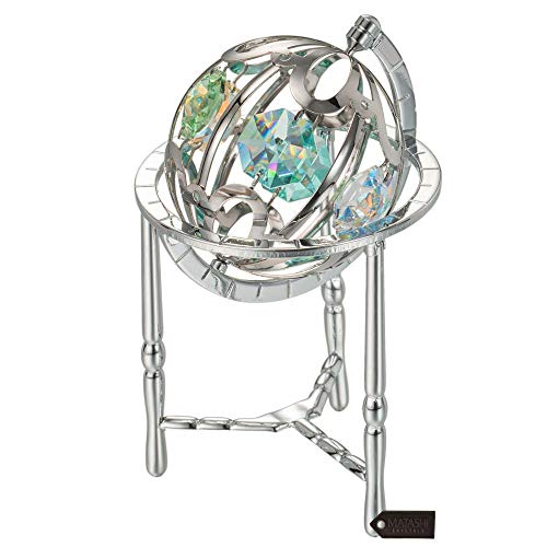 - Matashi Chrome Plated Crystal Studded Silver Spinning Globe Ornament with Colored Crystals