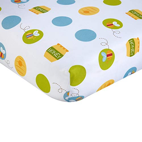 Bedding Bee Nursery (LO Beautiful White Yellow Blue Winnie The Pooh Fitted Crib Sheet, Disney Themed Nursery Bedding, Infant Child Animal Bear Bumble Bee Honey Polka Dots Pattern Cute Adorable, Cotton)