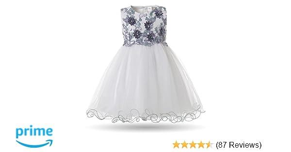 e4b98b393a33 Amazon.com  CIELARKO Baby Girl Dress Infant Flower Lace Wedding ...