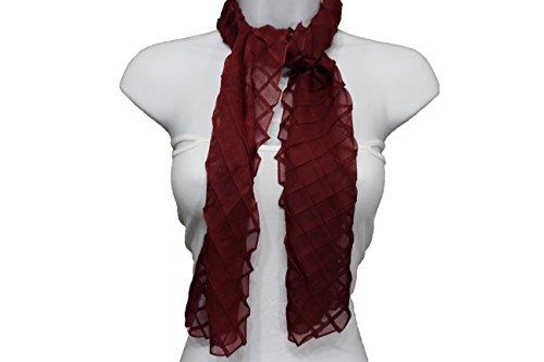 TFJ Women Fashion Long Neck Scarf Sheer Fabric Origami Geometric Long Fold Squares (Dark red burgundy)
