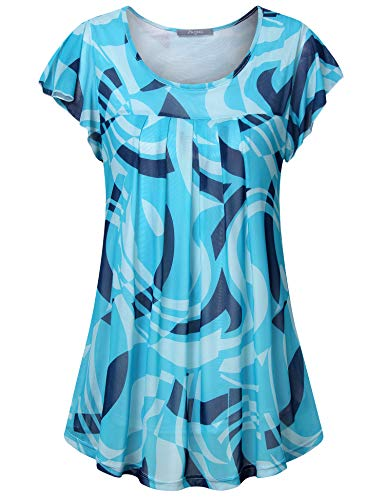 Furnex Womens Tops Work Casual, Womens Short Sleeve Floral Chiffon Blouse Scoop Neck Fashion Stretchy Soft Pleated Front Blouse Tops for Business Work Multicolor Blue XX-Large