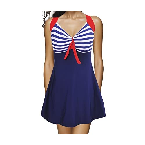 26ba45fae54c4 well-wreapped Bechic Women s Sailor Halter Plus Size Swimdress Vintage Striped  One-piece Swimsuit