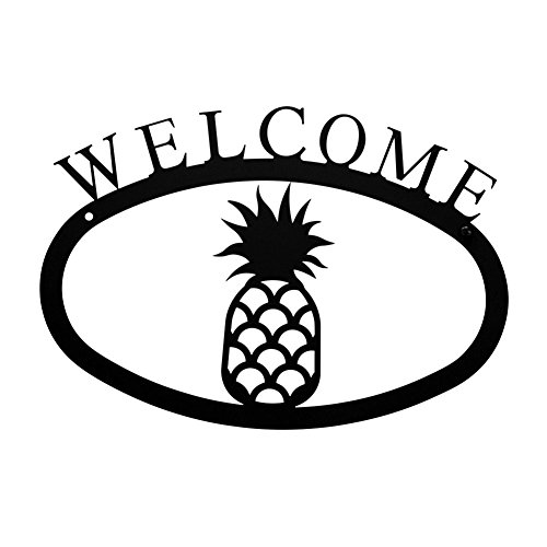 Iron Pineapple Home Address Welcome Sign Small - Heavy Duty Metal Welcome Home Signs, Door Signs, Outdoor Signs, House Sign, Hall Decoration, Address Signs - Wrought Iron Pineapple