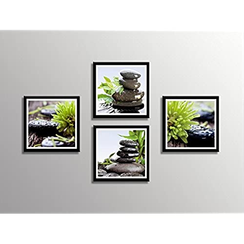 zen office decor. HLJ Arts Zen Canvas Print Black Edges Contemporary Stone Giclee Picture Prints Oil Painting For Home And Office Wall Art Decor 12x12inch 4pcs/set S