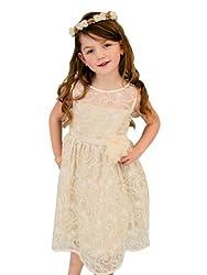 Kids Dream Soft Quality Lace Elegant Girl Dress-Ivory/Champagne-12