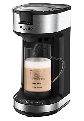 Single Serve Coffee Maker with Milk Frother, 2-Way Coffee Machine for K-Cup Pods Ground Coffee, Brew and Froth for Cappuccino and Latte, with 20 oz Glass Frothing Mug by Sboly