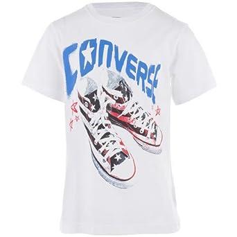 S T Converse Motif De Taille Blanche Shirt Garçon 5 Logo dshxCtQr