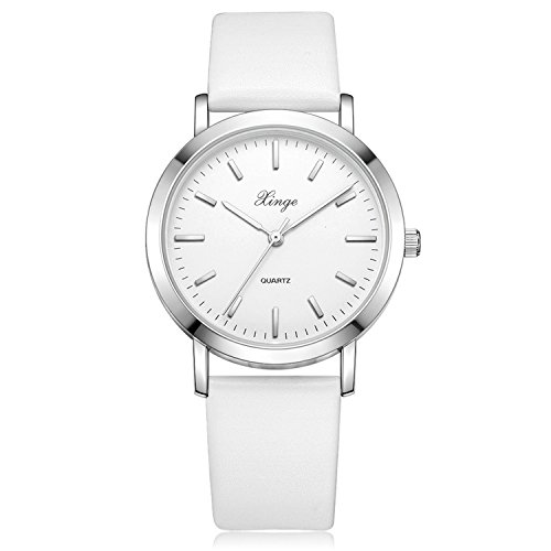 Bezel Silver White Leather (Xinge Women's Classic Wrist Watches with Leather Band Silver Tone Bezel XG1064 (white))