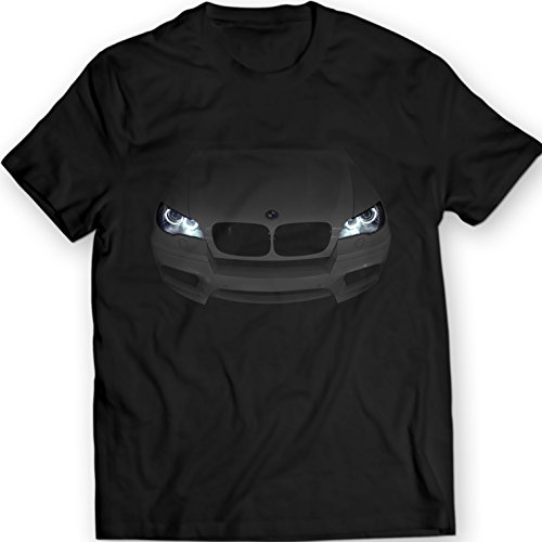 BMW X5 E70 M 2010-2013 T-Shirt Mens Gift Idea Headlights Glow xDrive 100% Cotton Holiday Gift Birthday (XXL, Black)