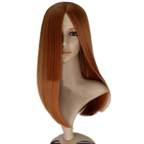 Angelaicos Women's Middle Parting Party Straight Full Wig Long Brown
