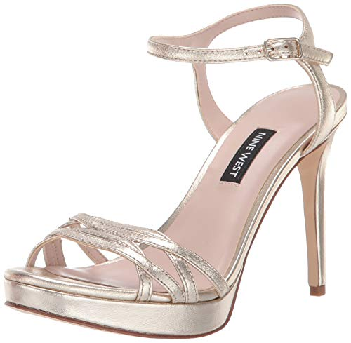 Nine West Women's QUICKLIME Metallic Heeled Sandal, Light Gold, 8 M US
