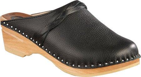 Braid Mule (Troentorp Bastad Clogs Women's Da Vinci Braid Clog,Onyx Leather,EU 37 M)