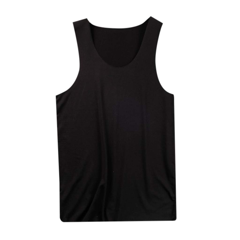 Shirts Tank Top Summer Solid Comfortabl Casual Sleeveless Bodybuilding Tee Waistcoat for Men (M, Black)