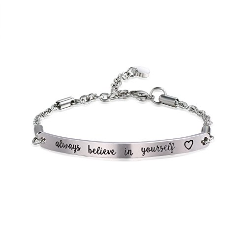 or Women Girls Daughter Inspirational Jewelry Inspirational Bracelet Engraved Always Believe in Yourself (Silver-Always Believe in Yourself) ()