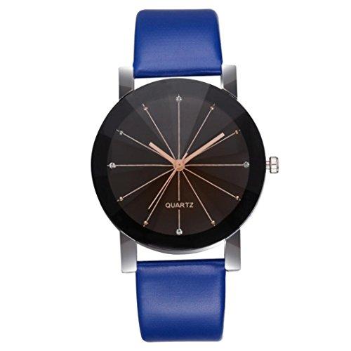 Unisex Women Men Watch, SUKEQ Stylish Quartz Dial Clock Leather Band Wrist Watch Analog Alloy Round Case Wristwatch (Blue Women) ()