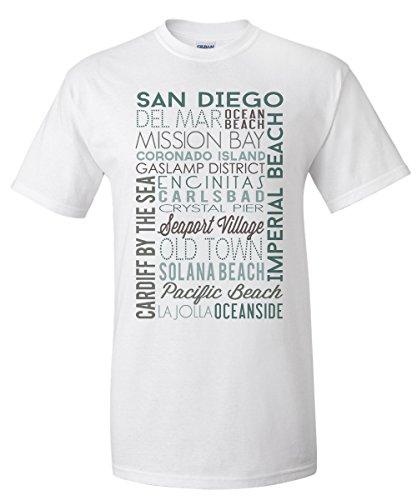San Diego, California - Green Typography (White T-Shirt - San Village Seaport Shops Diego