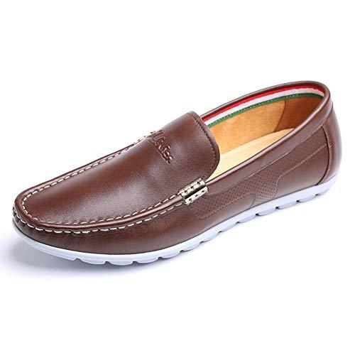 5 tamaño de 9 casuales para Color UK azul mocasines 5 Marrón para hombres punta de Color hombres cómodo On hombre cuero 9 para Talla Brown Slip Dark 8 Zapatos US UK vestido US holgados de 8 zqxn1BCIwX