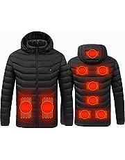 Verwarmde Jas voor Heren Vrouw USB Oplaadbare Wasbare Warme Jas met Capuchon 3 Verwarmingsniveaus 9 Verwarmingszones