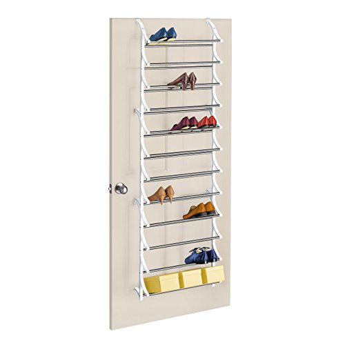 Lynk 36 Pair Over Door Shoe Rack - White Door 18 Pair Shoe