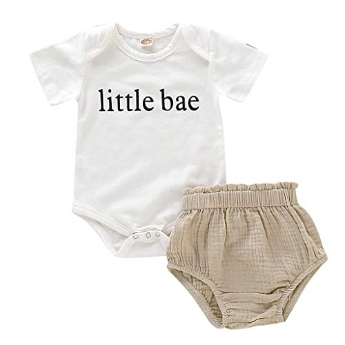 NUWFOR Playwear Set Romper Newborn Infant Baby Boy Girl Letter Romper Tops Shorts Set 2PCS Outfits Clothes(White,12-18 Months)