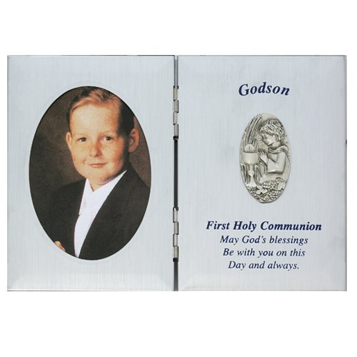 First Holy Communion Godson Gift 5 x 7 Silver Tone Picture Photo Keepsake Folding Plaque by McVan
