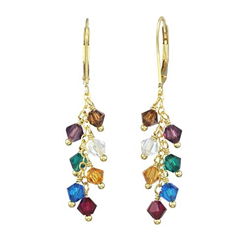 (Multi Color Cascade Drop Earring Made With Swarovski Crystals)