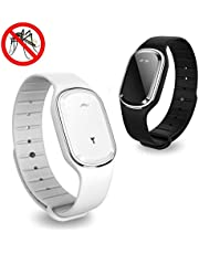 Volwco Ultrasonic Mosquito Repellent Bracelet, 2Pcs Electronic Mosquito Insect Repellent Wristband Band USB Rechargeable Indoor Outdoor Essentials for Adult Kids Travel Camping, Safe & Non Toxic