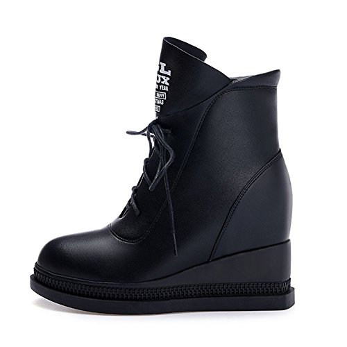 DecoStain Women's Ladies High Heel Wedge Lace-Up Round Toe Ankle School Boots Size 1 2 3 4 5 6 7 8 9 Black wrZH1iZGb