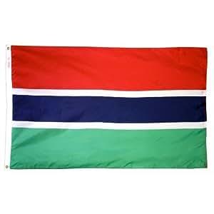 Annin Flagmakers 192833 Nylon Solarguard Nyl-glo Gambia Flag, 5 X 8'