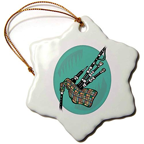 3dRose ORN_150061_1 Bagpipes Music Musical Instrument Design Snowflake Ornament, Porcelain, 3-Inch