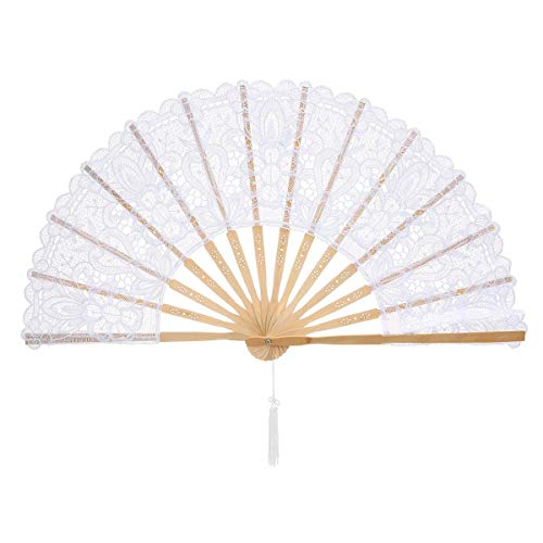 (Volwco Bamboo Hand Fan Lace Fabric Handheld Folding Fan Oriental Handmade for DIY Wall Decoration Wedding Gift Party Favor Dancing Show Props)