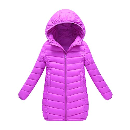 Fiaya Kids Children Winter Hooded Puffer Long Down Coats Jacket Lightweight Thick Warm Outerwear 2-7 Years (Purple, 4-5 Years)
