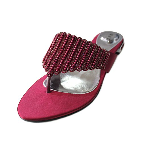 Wear & Walk UK - Sandalias de vestir para mujer rojo - Maroon