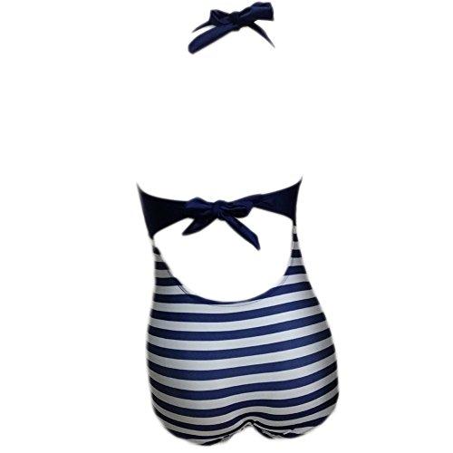 Missyhot Bañador Retro de Dos Piezas Mujeres Traje de Baño para Playa de Rayas Bikini Monokini Cintura Alta Blanco Azul Azul