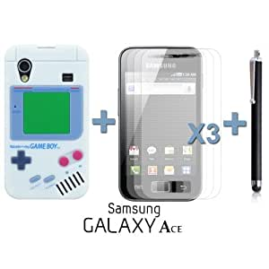 OnlineBestDigital - Gameboy Style Silicone Case for Samsung Galaxy Ace - White with 3 Screen Protectors and Stylus
