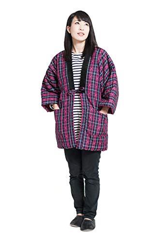 久留米織 はんてん 半纏 レディース 日本製 中綿 袢纏 どてら ちゃんちゃんこ 女性用 フリーサイズ (標準, 二筋格子 紺×ピンク)
