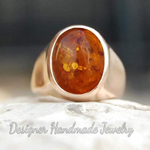 925 Solid Sterling Silver Ring, Baltic Amber Men Ring, Handmade Jewelry, Mens Gemstone Ring, Rose Gold Vermeil Ring, Signet Rose Gold Ring, Birthday Gift Ring (Amber Mens Ring)