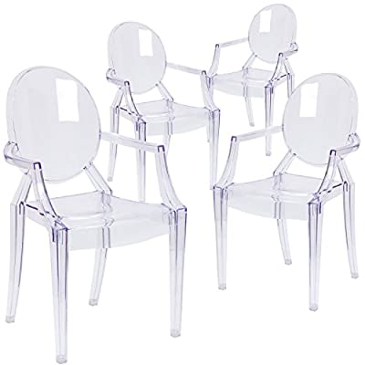 Flash Furniture 4 Pk. Ghost Chair with Arms in Transparent Crystal, White - Set of 4 Classic Style Accent Chairs Transparent Crystal Finish Curved Arms - kitchen-dining-room-furniture, kitchen-dining-room, kitchen-dining-room-chairs - 41PeiNpBKpL. SS400  -