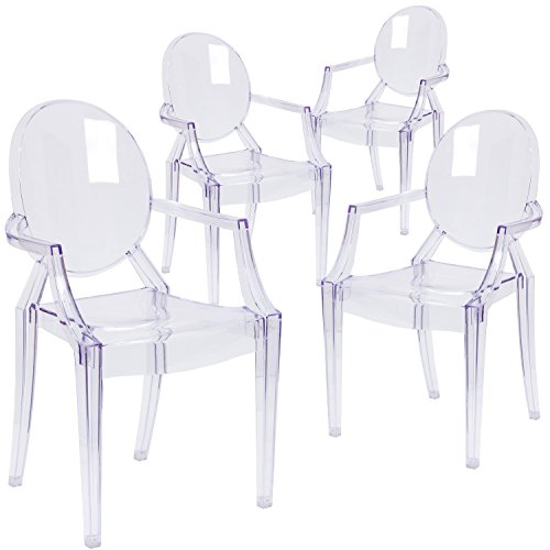 Flash Furniture 4 Pk. Ghost Chair with Arms in Transparent - Louis Chair Arm Ghost