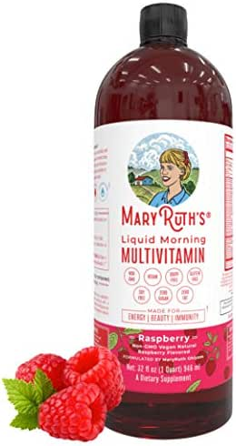 Morning Liquid Vitamins by MaryRuth (Raspberry) Vegan Multivitamin A B C D3 E Trace Minerals & Amino Acids for Energy, Hair, Skin & Nails for Men & Women - Paleo - Gluten Free - 0 Sugar - 0 Fat - 32oz